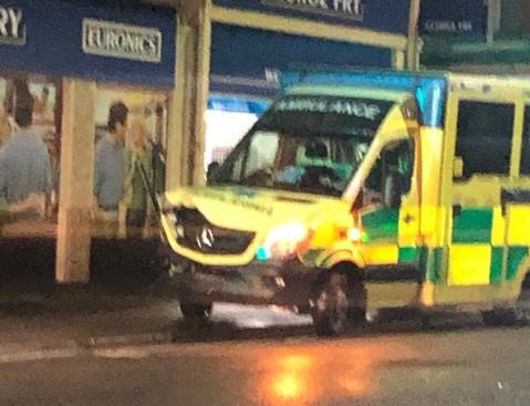 An ambulance collided with a car in Christchurch Road in Boscombe. Picture: Will Kaddah