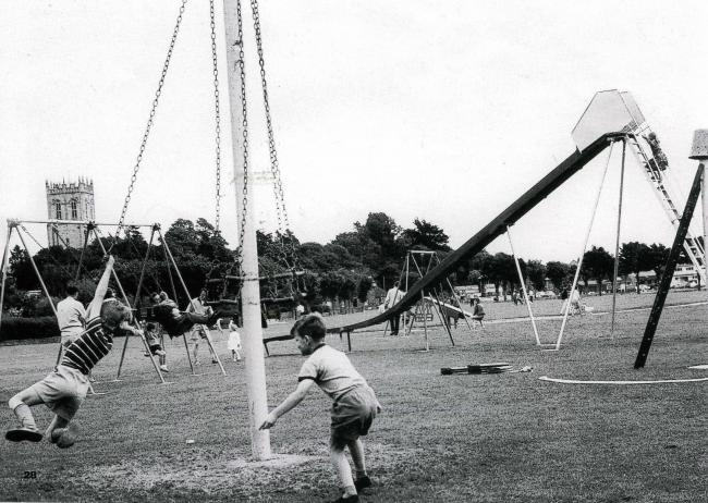 Do you remember when the Quomps playground in Christchurch looked this? Here is a snapshot of children enjoying the playground back in 1963. Photo: Daily Echo
