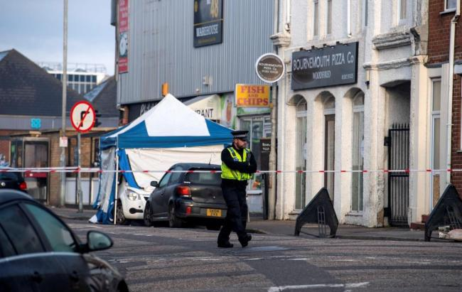 Police in St Swithun's Road, Bournemouth after Kai Archer suffered stab wounds