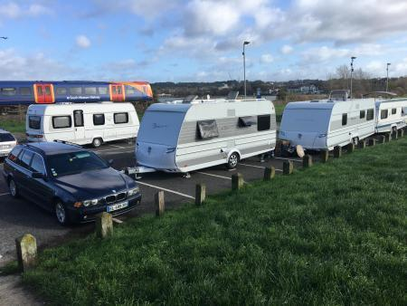 The encampment at the car park near Baiter Park skate park in Poole