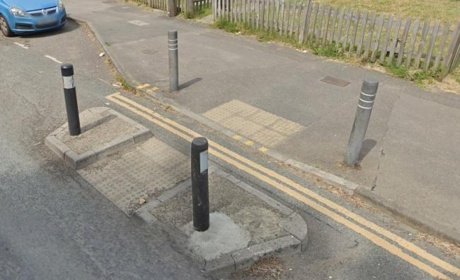 Bollards in Dale Valley Road, Poole. Picture: Google Maps/ Street View
