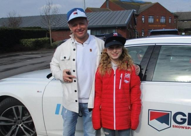 Team GB Snowsport coach Pat Sharples with 12-year-old Ella Hall from Christchurch