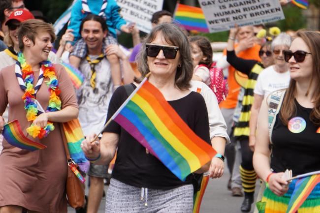 The 2019 Bourne Free Pride Festival parade makes its way through Bournemouth.