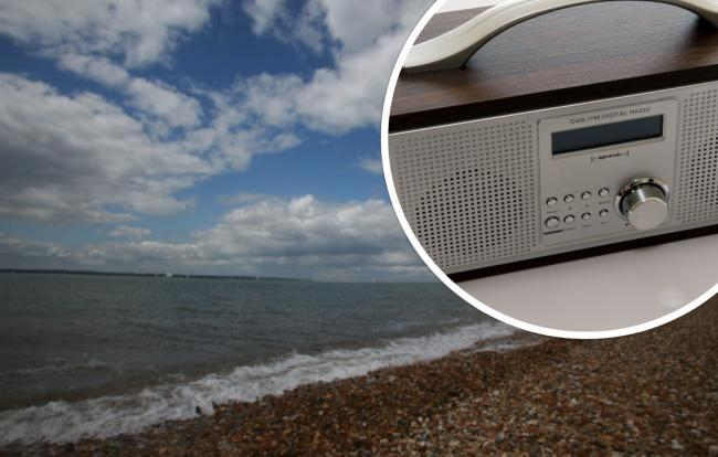 Stokes Bay, pictured, where 75-year-old caller 'Chris' visited at the weekend. Inset, a DAB+ digital radio. Picture: Newsquest