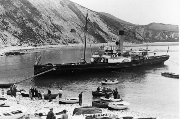 Over 70 years ago pleasure paddle steamer sailed into  Lulworth Cove, part of a three-boat team that brought tourists from Bournemouth and Weymouth to holiday in Lulworth.