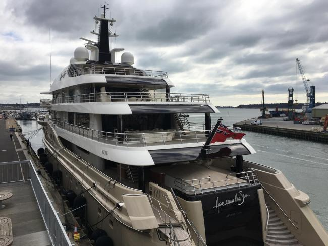 PICTURED: Luxury superyacht owned by Russian billionaire moored at Poole Quay