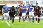 Kenwyne Jones of AFC Bournemouth scores and celebrates - Ipswich Town vs AFC Bournemouth - Sky Bet Championship Football at Portman Road, Ipswich, Suffolk - 03/04/15 - MANDATORY CREDIT: Denis Murphy/TGSPHOTO - Self billing applies where appropriate - cont