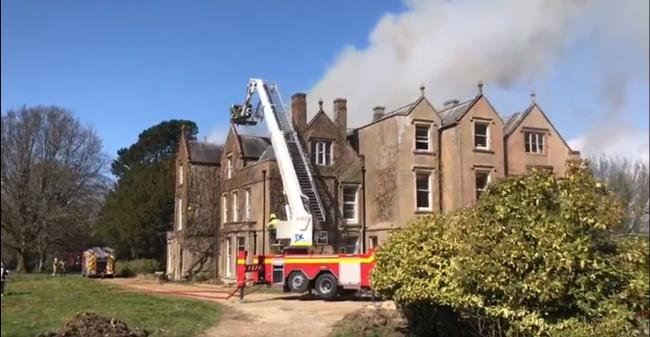 The fire has broken out at a manor house  Picture: Maiden Newton Fire Station