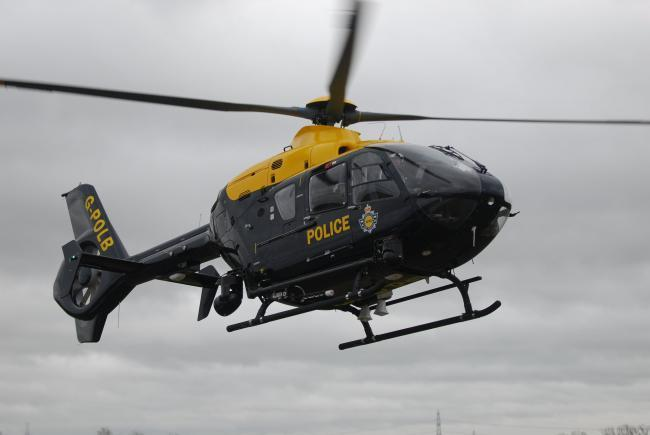 The police helicopter helped with the search