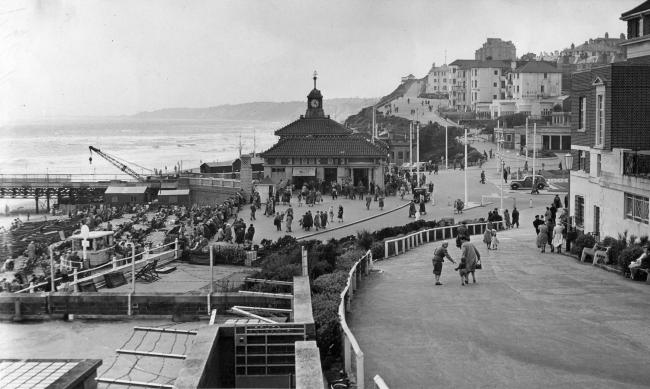 Bournemouth Pier Approach with the refurbishment of the pier continuing and the Swimming baths to the right, 1956