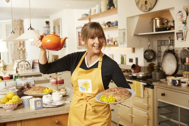 Mel Giedroyc is encouraging people to take part in Marie Curie's virtual Blooming Great Tea Party