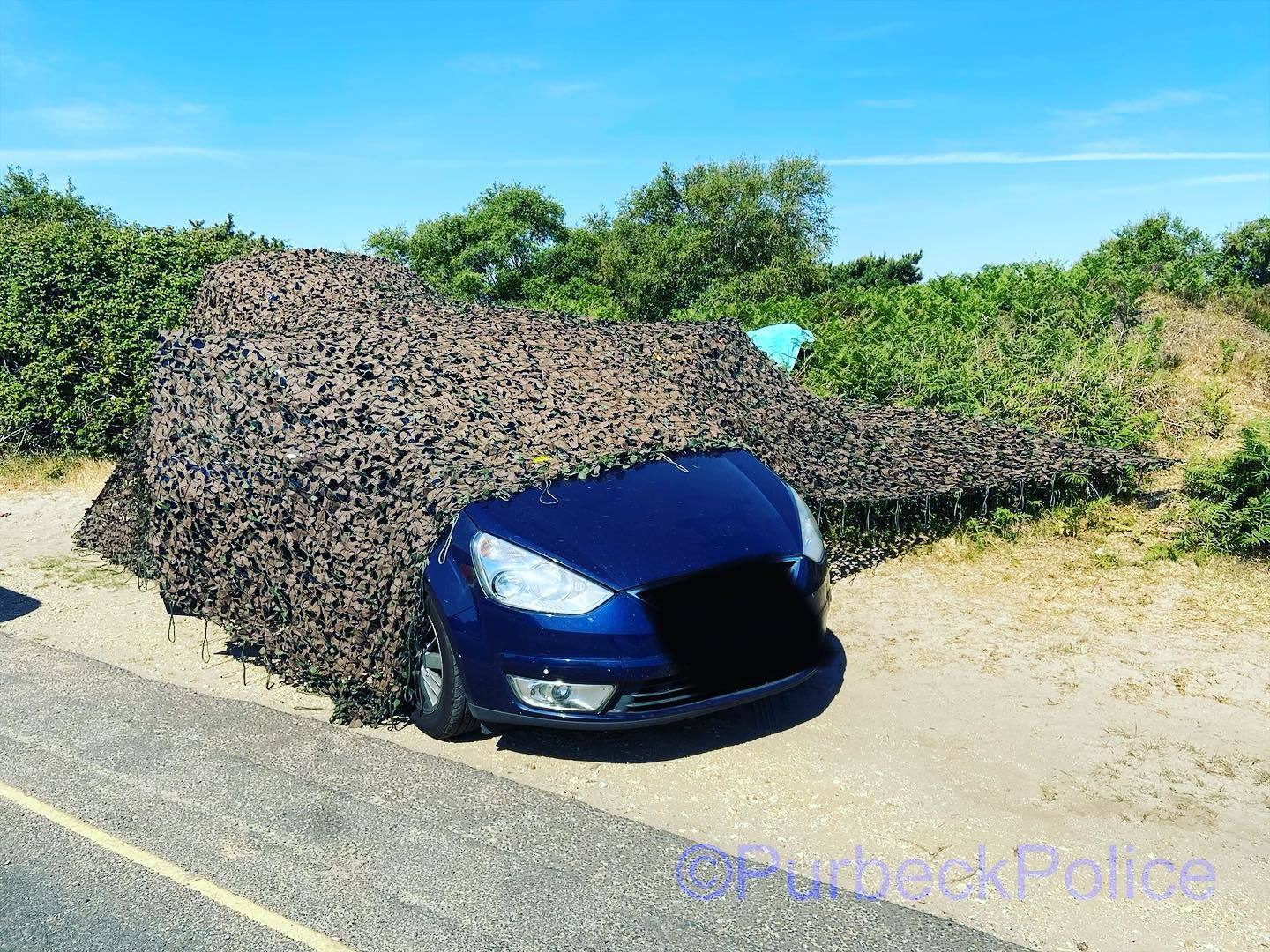 Bizarre attempt to camouflage a car at Studland is rumbled by police