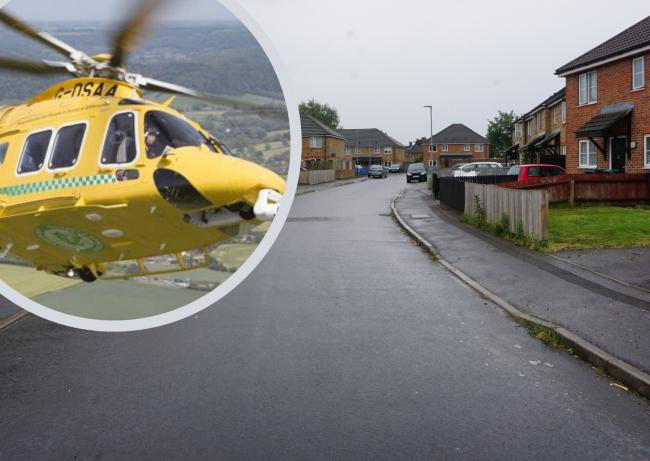 Hanlon Close in West Howe and inset, Dorset and Somerset Air Ambulance