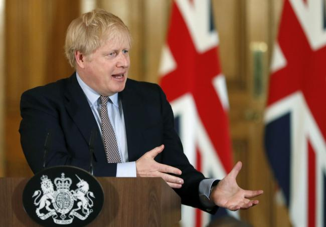 Boris Johnson at one of the Downing Street news conferences