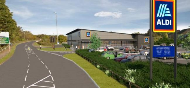 A CGI of the proposed Aldi supermarket in Blandford Road, Upton