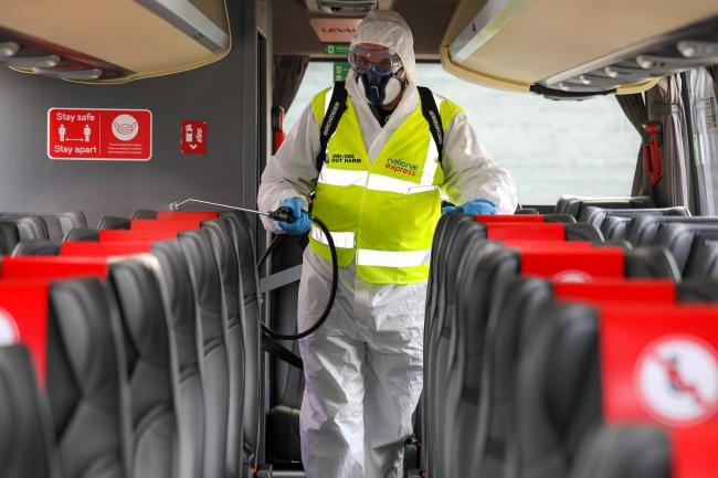 National Express Coaches photography highlighting the new safety measures and cleaning proceedures post Covid 19.for their stations and coaches. Picture by Shaun Fellows / Shine Pix Ltd