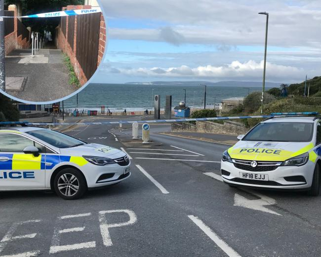 ​Police at Boscombe seafront this morning and an alleyway has also been cordoned off (inset)