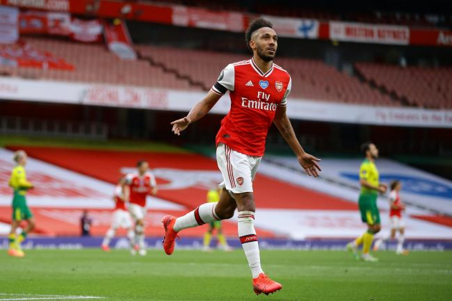 Pierre-Emerick Aubameyang celebrates scoring his second goal of the game in the win against Norwich
