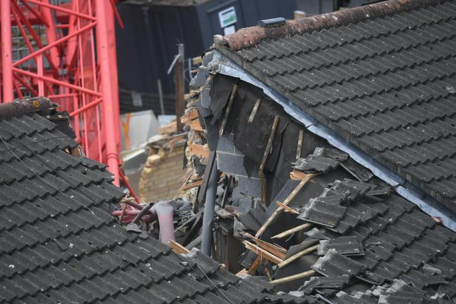 View of the damage caused in Bow, east London, where a 20-metre crane collapsed on to a house (Victoria Jones/PA)