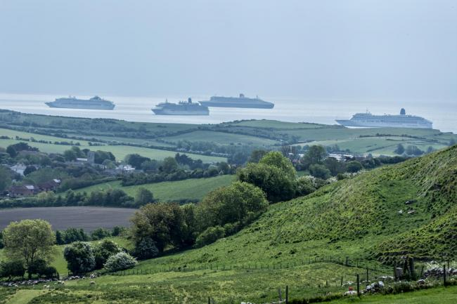 Cruise ships in Weymouth Bay, taken from Bincombe Hill by G Mcsevney