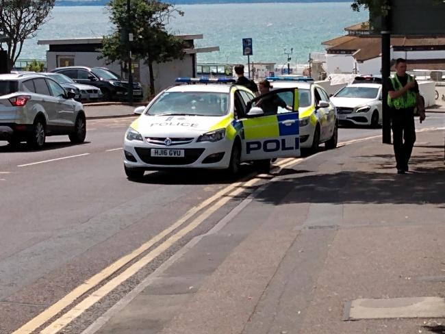 A police car collided with an Audi Q7 in Bath Road, Bournemouth as it made its way to an emergency call