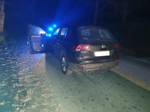 Bournemouth Echo: The Volkswagen Tiguan driven by Mark Dudley after it was stopped in the New Forest. Picture: Dorset Police