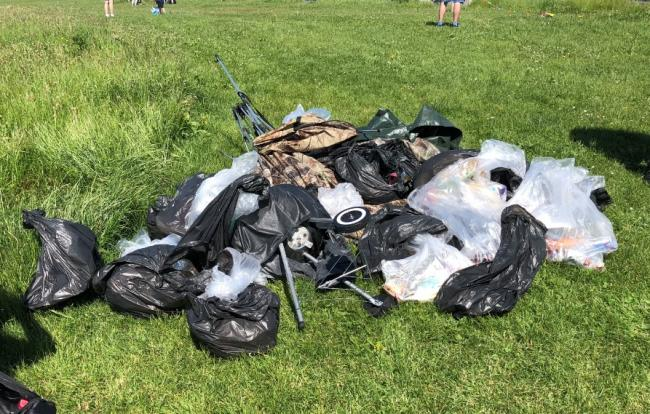 Rubbish collected on Bournemouth beach following a litter pick by volunteers from Hertz Accident Support last year