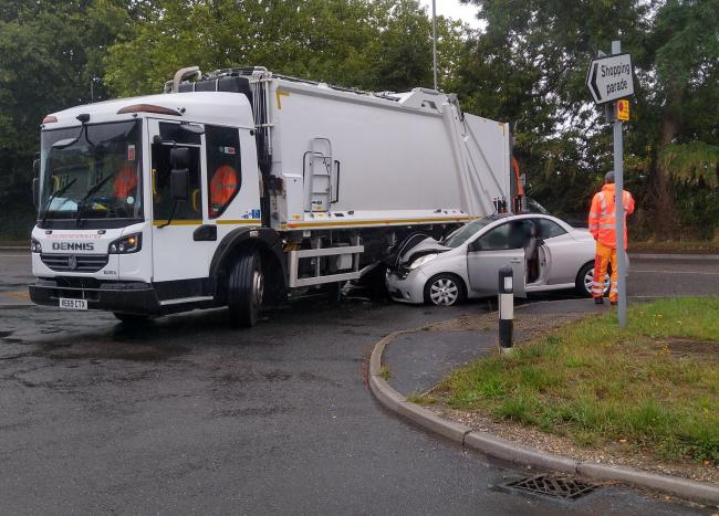 A bin lorry and car crashed at Parley Cross. Picture: Andy Higginson