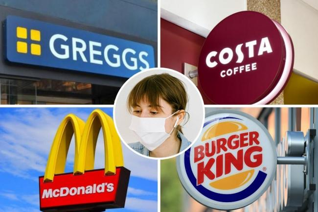 Burger King, Costa Coffee, Greggs and McDonald's update face mask rules. Picture: Newsquest