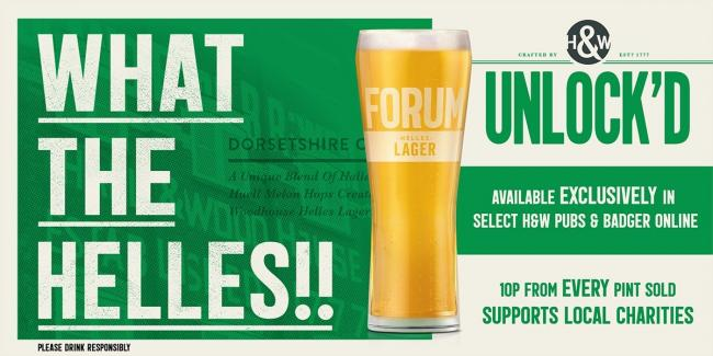 Hall & Woodhouse has temporarily rebranded its Forum Lager to Unlock'd Lager to celebrate the reopening of its pubs