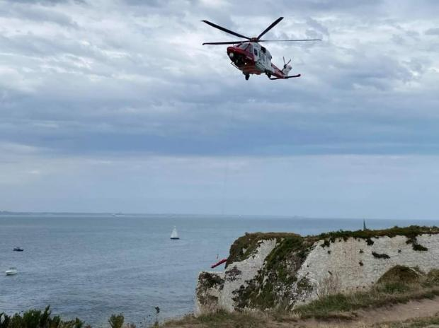 Bournemouth Echo: Emergency services at Old Harry Rocks. Picture: Swanage Fire Station