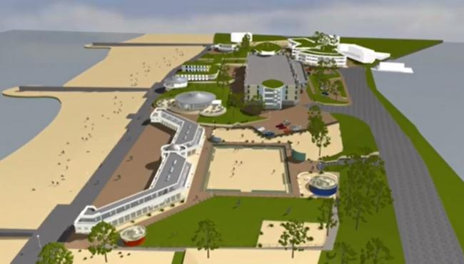 A still from video footage visualising Eddie Mitchell's latest plans to redevelop Sandbanks Pavilion and the surrounding area