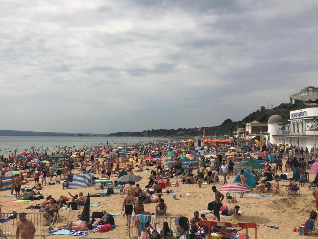 Bournemouth beaches were brimming with visitors over the weekend
