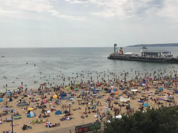 Bournemouth Echo: Visitors at Bournemouth Beach on Saturday, August 8