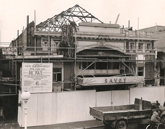 The Savoy Cinema, Boscombe, pictured here in 1958 being redeveloped into a supermarket after years as a popular attraction. The cinema opened as the Picture House in 1914 and was refurbished in 1930 reopening as the Savoy Cinema, the opening film was &ldq