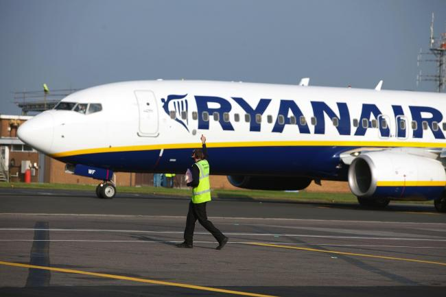 A Ryanair plane at Bournemouth Airport
