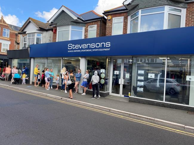 Parents and pupils are queueing for three hours to buy school uniform at Stevensons in Southbourne