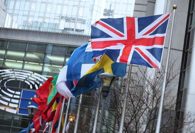 The Union flag flying outside the European Parliament building in Brussels, Belgium. PA Photo. Picture date: Thursday January 30, 2020. Photo credit should read: Yui Mok/PA Wire.