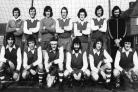 Brockenhurst FC. Back: Brian Bidwell, Roger Lawford, Ken Harvey, Brian Perdey, Paul Curtis, Mick Bryant, Peter Lawford. Front: Dave Fordham,  Chris Geary, Bob Buck, Keith Lawford, Wayne Phillips and Steve Lawford. March 8, 1975..