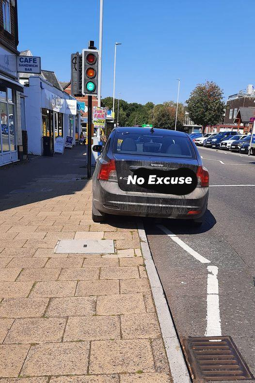 This Volvo was blocking the view of pedestrians and drivers at a crossing in Broadstone. Picture: Dorset Police No Excuse