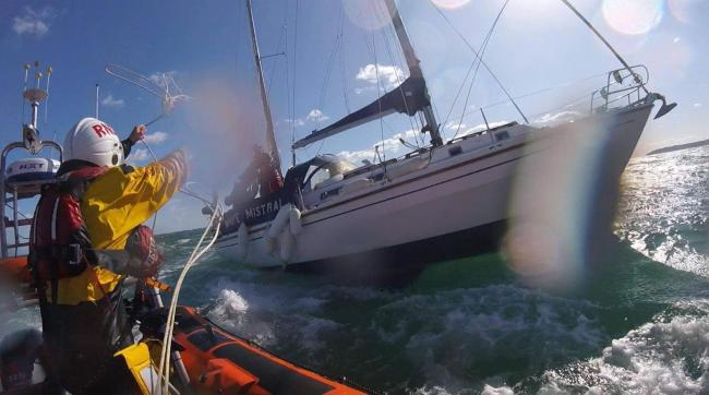 Poole Lifeboat launched on Friday September 25 2020 just before 2pm to assist a 18ft Mini Trans-Atlantic race yacht which had lost both its rudders. Picture: Poole lifeboat