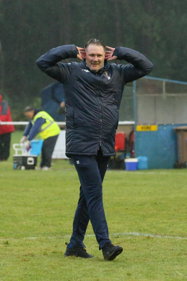 Christchurch FC manager Ollie Cherrett after his side's penalty shootout win against Gloucester City in the FA Cup