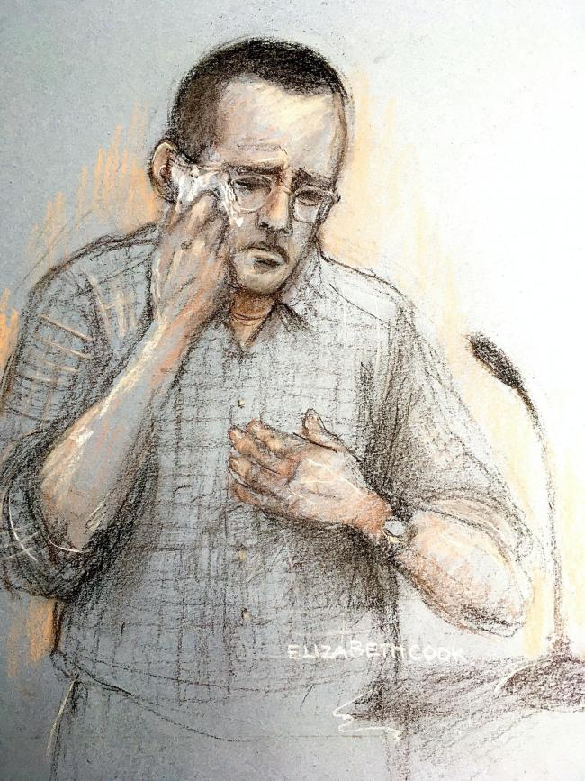Artist impression of Timothy Brehmer giving evidence. Picture: PA Wire