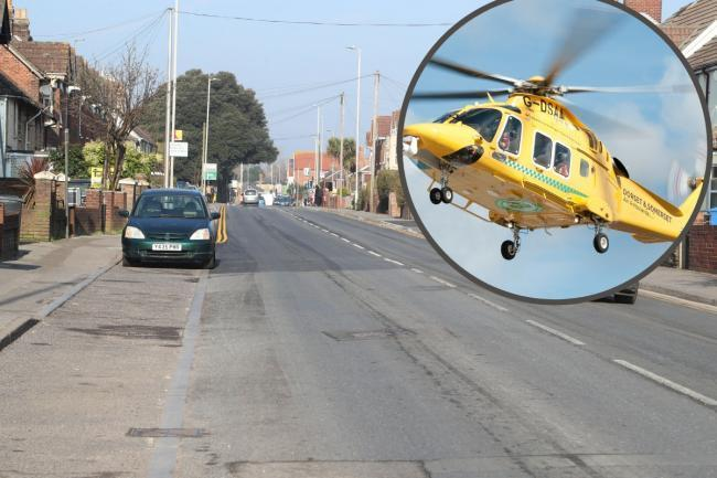 A 16-year-old by was airlifted to hospital after a mini motorbike collided with a pole in Blandford Road, Hamworthy on Monday October 19 2020