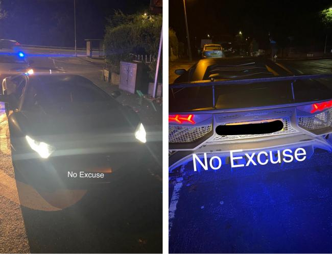 The special edition Lamborghini that was stopped by police in the Wallisdown Road area. Picture: Dorset Police No Excuse Team