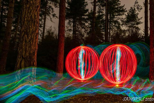 Peter Saunders Poster on the Echo Camera Club Facebook page his Light painting in Wareham Forest.