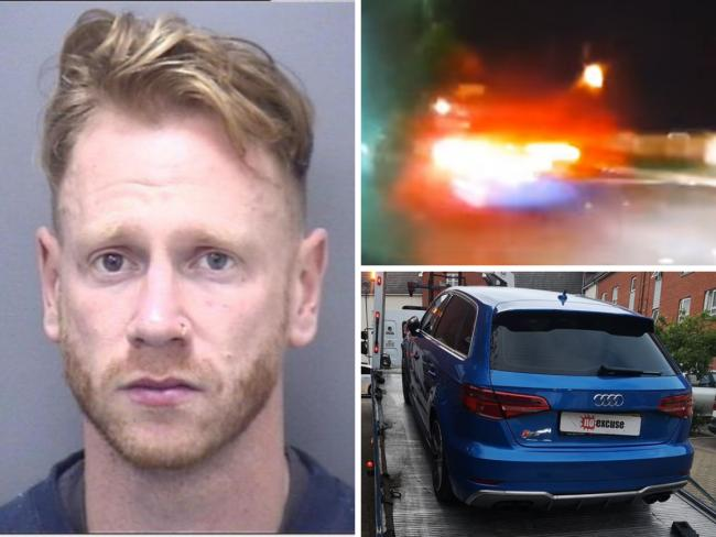 Daniel John Osborne, aged 31, left, has been disqualified from driving for nine months following an incident while at the wheel of an Audi A3 in Poole. Right-hand side pictures: Dorset Police No Excuse