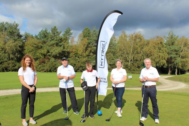 Dorset Golf & Country Club captains welcome Krista Sharp, chief executive of MYTIME Young Carers, to the venue