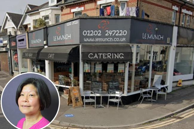 Le Munch cafe, picture Google Street View, and inset, councillor May Haines