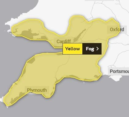 Fog warning issued by the Met Office